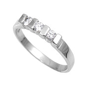 Three Stones Round Center Clear Cubic Zirconia Petite Rings Sterling Silver 925