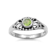 Filigree Round Light Simulated Peridot Cubic Zirconia Petite Rings Sterling Silver 925