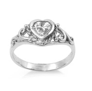 Filigree Heart Clear Cubic Zirconia Petite Ring Sterling Silver 925