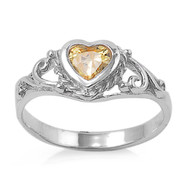 Filigree Heart Yellow Cubic Zirconia Petite Ring Sterling Silver 925