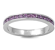 Eternity Ring Light Simulated Amethyst Cubic Zirconia Sterling Silver 925