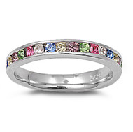 Eternity Ring Multi-Color Cubic Zirconia Sterling Silver 925