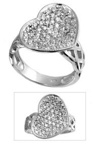 Heart Designer Pave Cubic Zirconia Ring Sterling Silver 925
