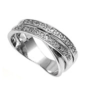 Designer Pave Cubic Zirconia Ring Sterling Silver 925