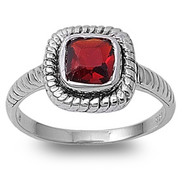 Braided Square Simulated Garnet Cubic Zirconia Ring Sterling Silver 925