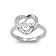 Amor Heart Cubic Zirconia Ring Sterling Silver 925
