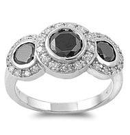 Three Stones Mystere Black Cubic Zirconia Ring Sterling Silver 925