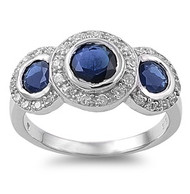 Three Stones Mystere Simulated Sapphire Cubic Zirconia Ring Sterling Silver 925