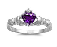 Claddagh Benediction Simulated Amethyst Cubic Zirconia Ring Sterling Silver 925
