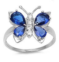 Butterfly Hera Simulated Sapphire Cubic Zirconia Ring Sterling Silver 925
