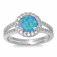 Embraced Round Center Blue Simulated Opal Cubic Zirconia Ring Sterling Silver 925