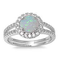Embraced Round Center White Simulated Opal Cubic Zirconia Ring Sterling Silver 925