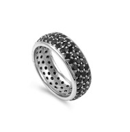 All Pave Everything Black Cubic Zirconia Ring Sterling Silver 925