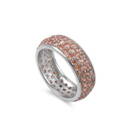 All Pave Everything Champagne Cubic Zirconia Ring Sterling Silver 925