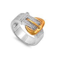 Two Toned Belt Design Cubic Zirconia Ring Sterling Silver 925