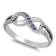 Adoration Infinity Simulated Amethyst Cubic Zirconia Ring Sterling Silver 925