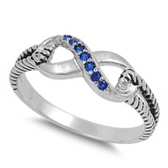 Adoration Infinity Simulated Sapphire Cubic Zirconia Ring Sterling Silver 925