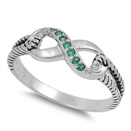 Adoration Infinity Simulated Emerald Cubic Zirconia Ring Sterling Silver 925