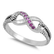Adoration Infinity Simulated Ruby Cubic Zirconia Ring Sterling Silver 925
