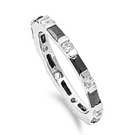 Alternating Stones Eternity Baguette Simulated Black Cubic Zirconia Ring Sterling Silver 925