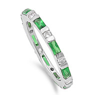 Alternating Stones Eternity Eternity Baguette Emerald Cubic Zirconia Ring Sterling Silver 925