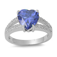 Accented Heart Center Simulated Tanzanite Cubic Zirconia Ring Sterling Silver 925