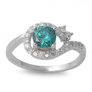 Accented Round Center Blue Simulated Topaz Cubic Zirconia Ring Sterling Silver 925