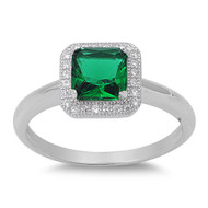 Accented Rectangular Simulated Emerald Cubic Zirconia Ring Sterling Silver 925