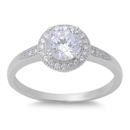Accented Round Cubic Zirconia Ring Sterling Silver 925