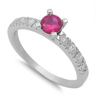 Accented Round Simulated Ruby Center Cubic Zirconia Ring Sterling Silver 925