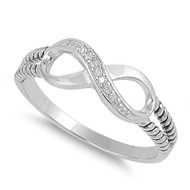 Alpha and Omega Infinity Cubic Zirconia Ring Sterling Silver 925