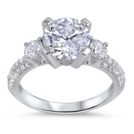 Solitaire Designer Cubic Zirconia Ring Sterling Silver 925