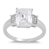 Rectangular Center Engagement Ring Cubic Zirconia Sterling Silver 925