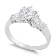 Accent Round Prong Baguette Cubic Zirconia Ring Sterling Silver 925