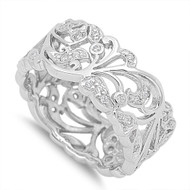 Abstarct Flower and Vines Cubic Zirconia Ring Sterling Silver 925