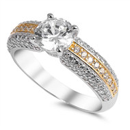 Round Cut Cubic Zirconia Wide Band Engagement WeddingRing Sterling Silver 925
