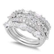 Abstract Stone Combination Cubic Zirconia Ring Sterling Silver 925
