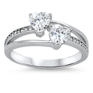 Double Heart Intertwined Cubic Zirconia Ring Sterling Silver 925
