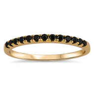 Yellow Gold-Tone Plated Stackable Black Cubic Zirconia Ring Sterling Silver 925