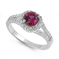 Accented Round Center Simulated Ruby Cubic Zirconia Ring Sterling Silver 925