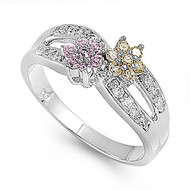 Infinity Flower Fusion Multicolor Cubic Zirconia Ring Sterling Silver 925