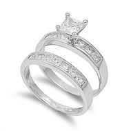 Princess Cut Center with Invisible Set Cubic Zirconia Wedding Set Ring Sterling Silver 925