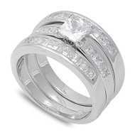 Princess Cut Center with Invisible Set Stones Cubic Zirconia Wedding Set Ring Sterling Silver 925