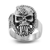 Serpent Temptation Skull Ring Sterling Silver 925