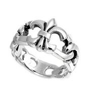Fleur De Lis Chain Ring Sterling Silver 925