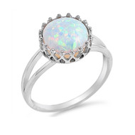 Crown White Simulated Opal Ring Sterling Silver 925