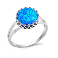 Crown Simulated Opal Ring Sterling Silver 925