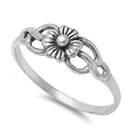 Cherry Blossom Solitaire Op Flower Ring Sterling Silver 925