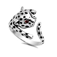 Angry Tiger With Simulated Garnet Eyes Cubic Zirconia Ring Sterling Silver 925