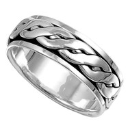 Weave Row Spinner Ring Sterling Silver 925